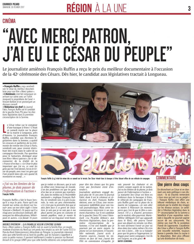20170226-CP-France-François Ruffin : « Avec Merci patron, j'ai eu le César du peuple »
