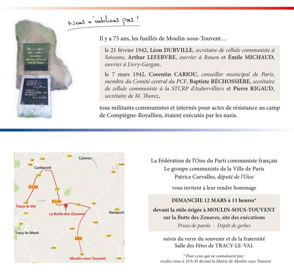 Invitation à l'hommage du PCF aux résistants fusillés à Moulin-sous-Touvent il y a 75 ans - 12 mars 2017