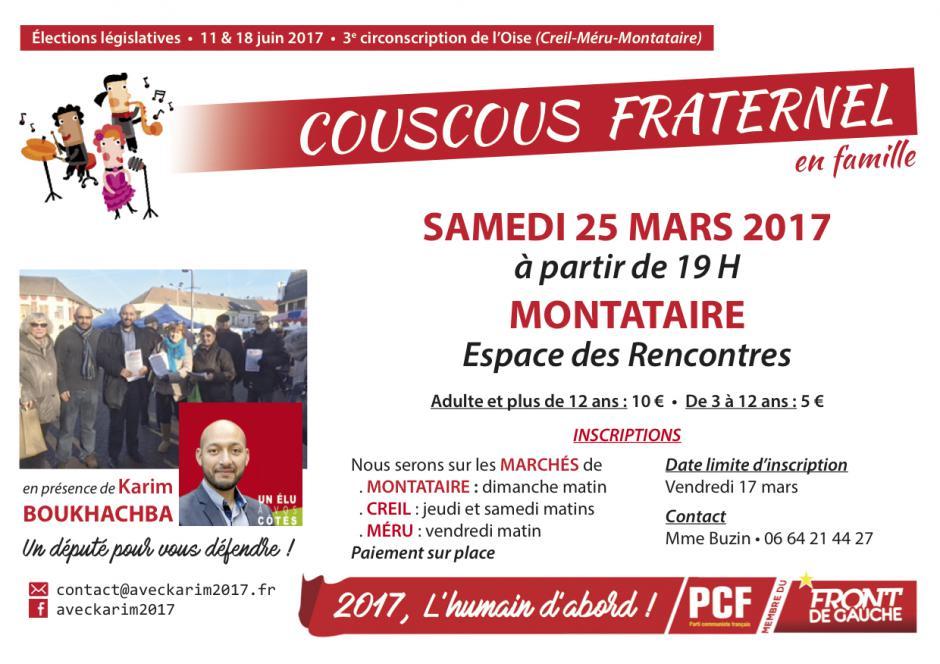 Invitation au Couscous fraternel de l'Humain d'abord - Montataire, 25 février 2017