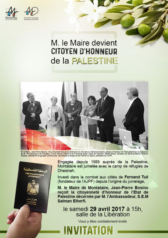 29 avril, Montataire - Remise du passeport palestinien à Jean-Pierre Bosino
