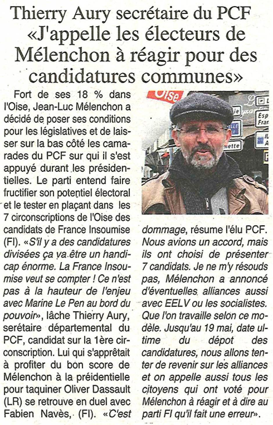 20170503-OH-Oise-L2017-Thierry Aury, secrétaire du PCF : « J'appelle les électeurs de Mélenchon à réagir pour des candidatures communes »