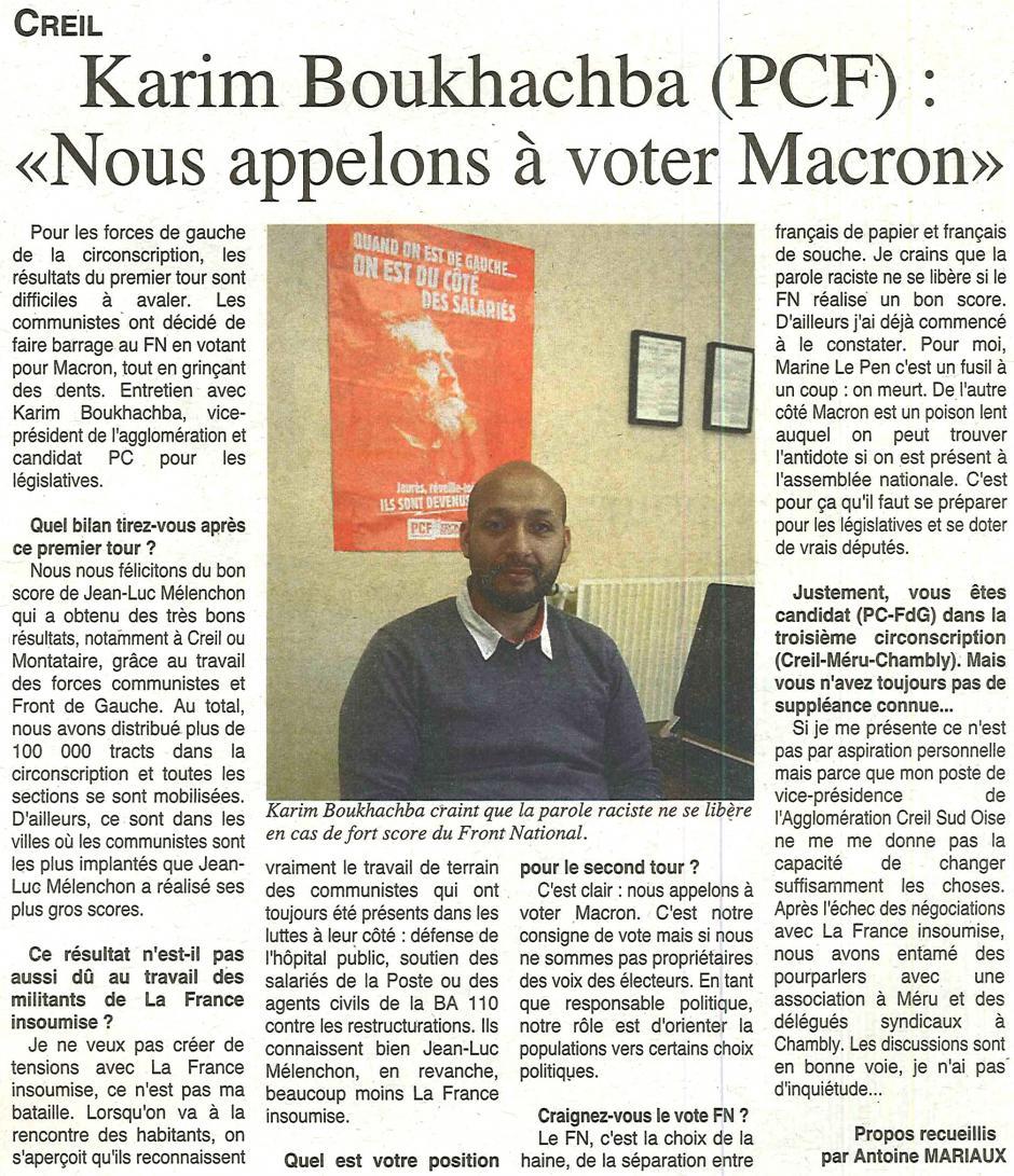 20170503-OH-Oise-L2017-3C-Karim Boukhachba : « Nous appelons à voter Macron »