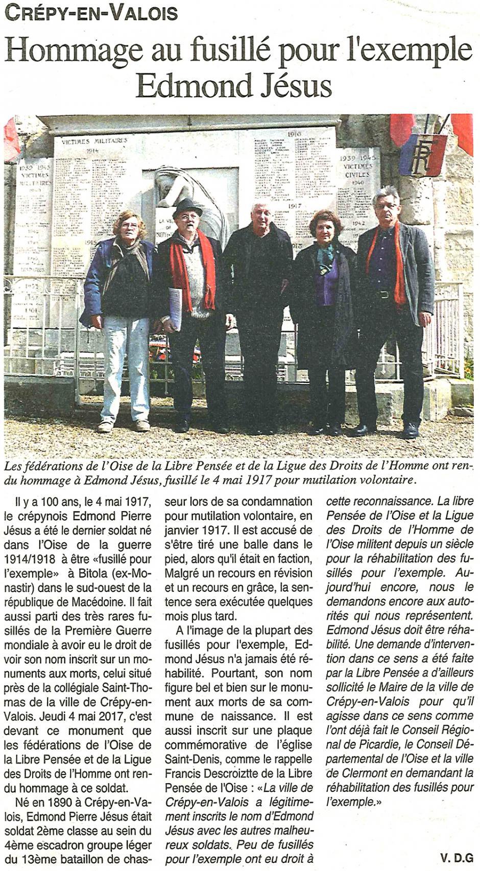 20170510-OH-Crépy-en-Valois-Hommage au fusillé pour l'exemple Edmond Jésus