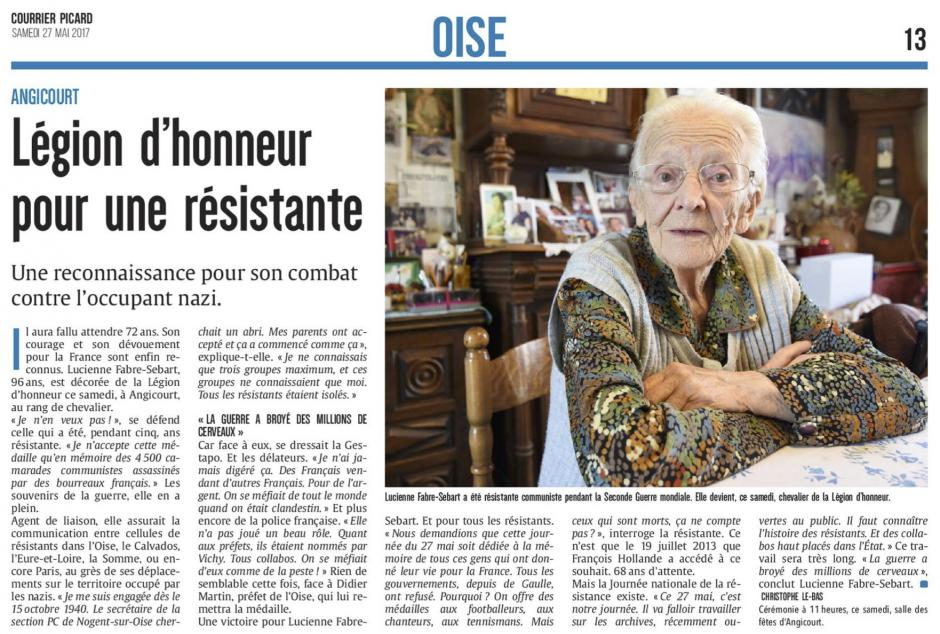 20170527-CP-Angicourt-Légion d'honneur pour une résistante [Lucienne Fabre-Sébart]