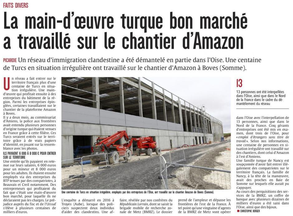20170527-CP-Picardie-La main-d'œuvre turque bon marché a travaillé sur le chantier d'Amazon