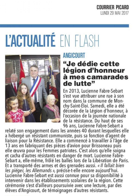 20170529-CP-Angicourt-Lucienne Fabre-Sebart : « Je dédie cette Légion d'honneur à mes amis de lutte »