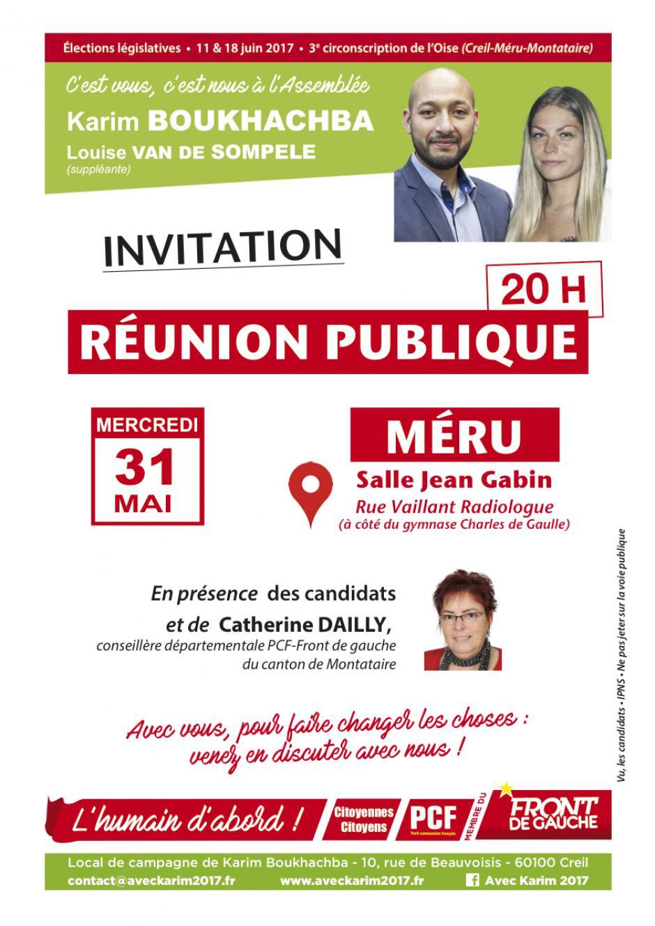 Flyer « Réunion publique à Méru en présence de Karim Boukhachba et Louise Van de Sompele - 3e circonscription de l'Oise, 31 mai 2017