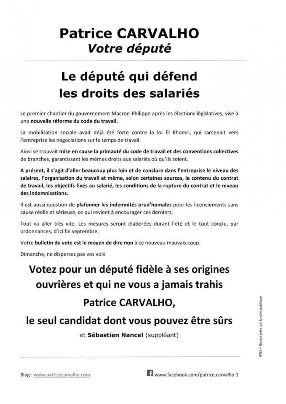 Tract « Patrice Carvalho, votre député : le député qui défend le droit des salariés » - 6e circonscription de l'Oise, 8 juin 2017