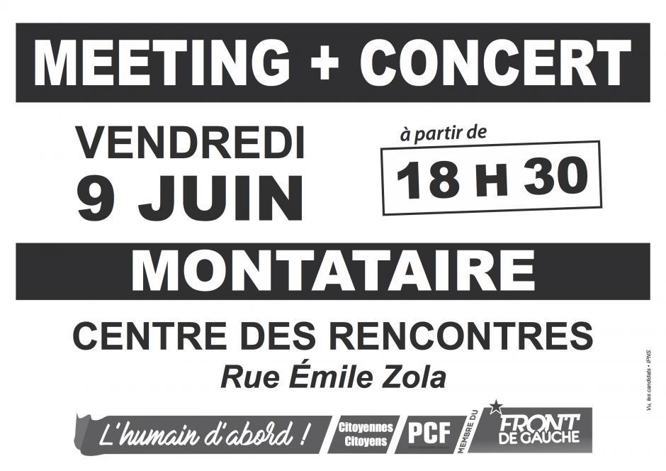 Affichette « Meeting + concert à Montataire » - 3e circonscription, 9 juin 2017