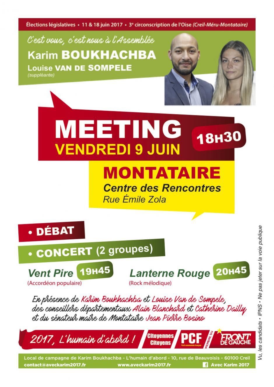 Flyer « Meeting + concert à Montataire » - 3e circonscription, 9 juin 2017