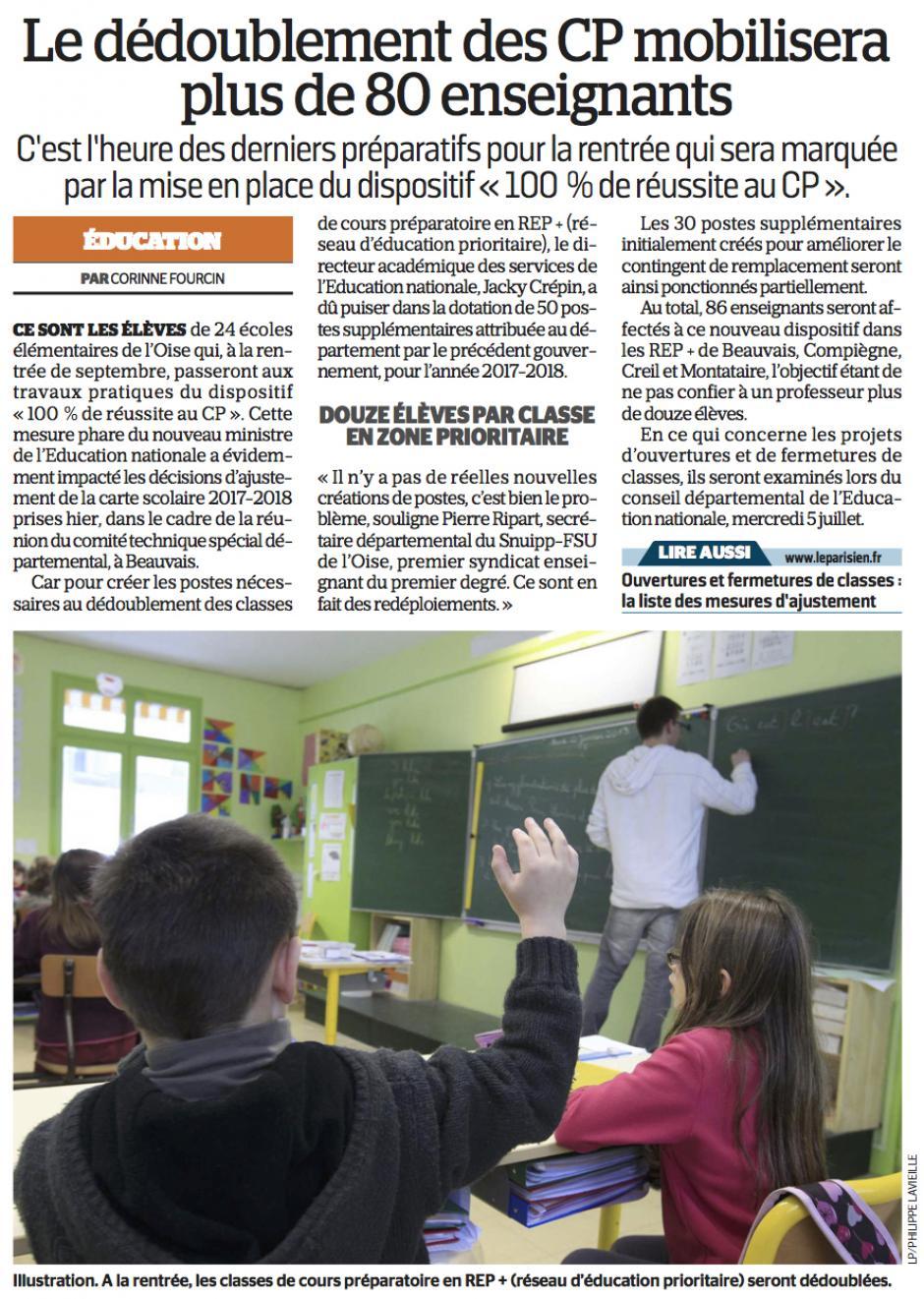 20170628-LeP-Oise-Le dédoublement des CP mobilisera plus de 80 enseignants