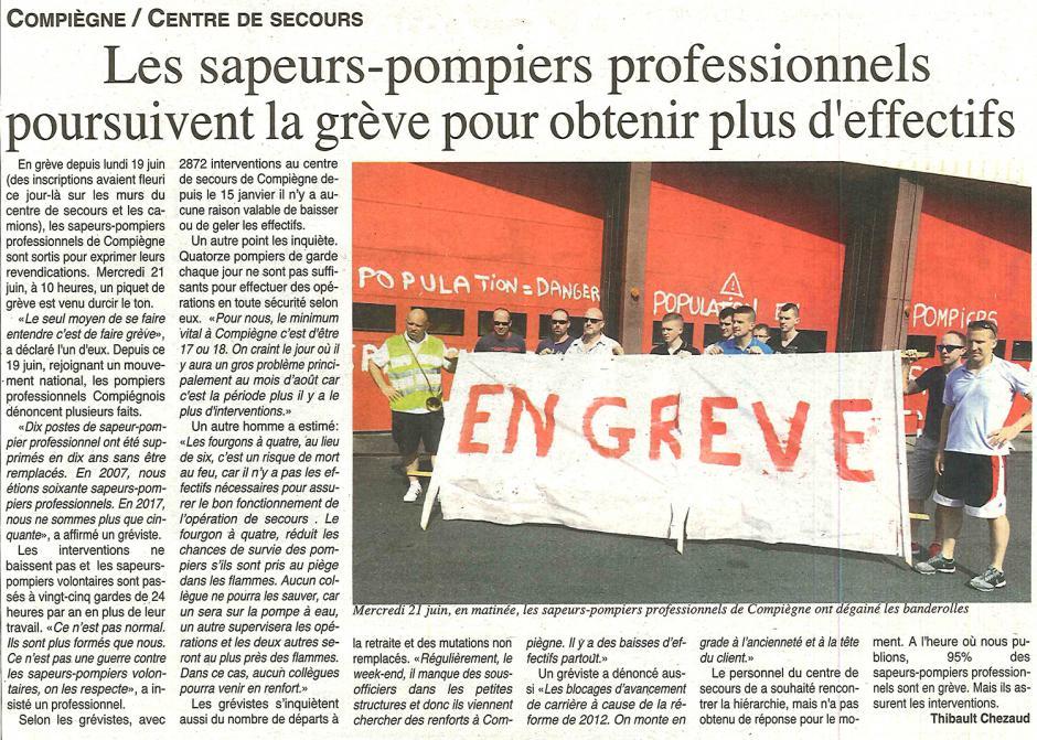 20170628-OH-Compiègne-Les sapeurs-pompiers professionnels poursuivent la grève pour obtenir plus d'effectifs