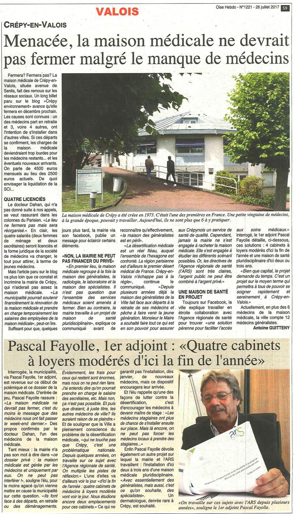 20170726-OH-Crépy-en-Valois-Menacée, la maison médicale ne devrait pas fermer malgré le manque de médecins