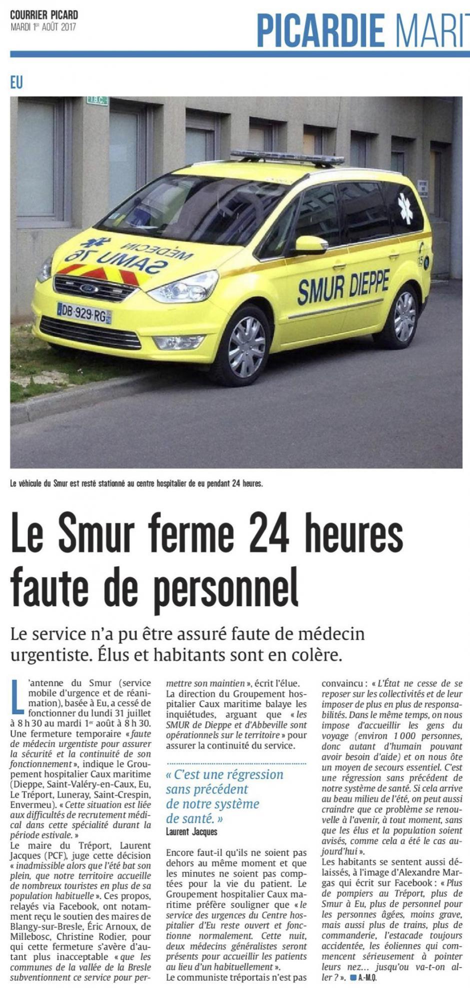 20170801-CP-Eu-Le Smur ferme 24 h faute de personnel [édition Picardie maritime]
