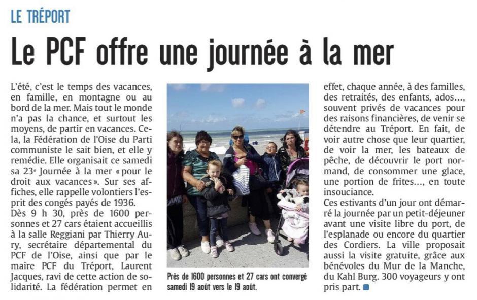20170821-CP-Le Tréport-Le PCF offre une journée à la mer [édition Picardie maritime]
