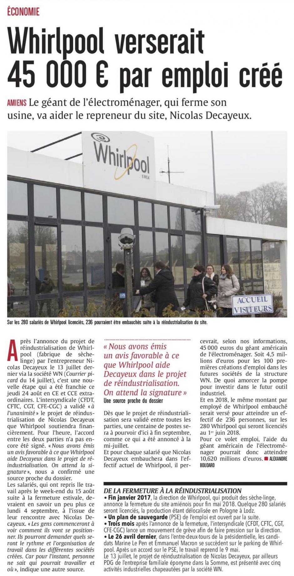 20170826-CP-Amiens-Whirlpool verserait 45 000 € par emploi créé