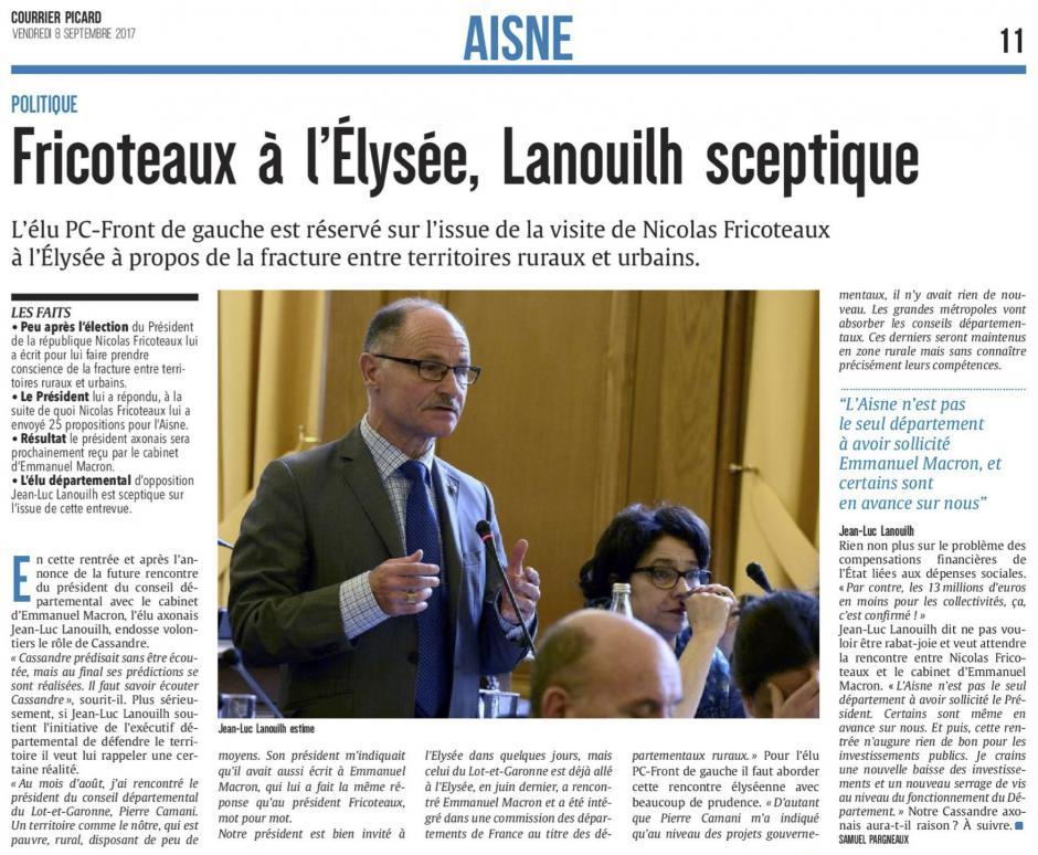 20170908-CP-Aisne-Fricoteaux à l'Élysée, Jean-Luc Lanouilh sceptique [édition Aisne]