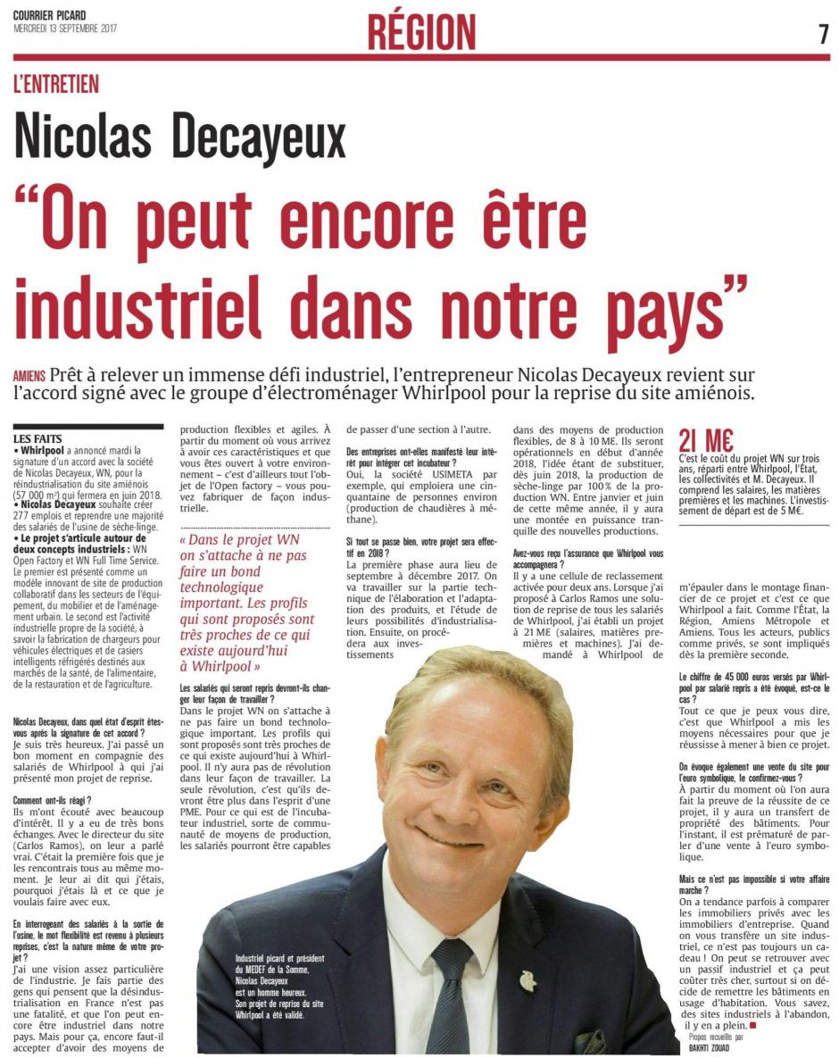 20170913-CP-Amiens-Decayeux : « On peut encore être industriel dans notre pays »