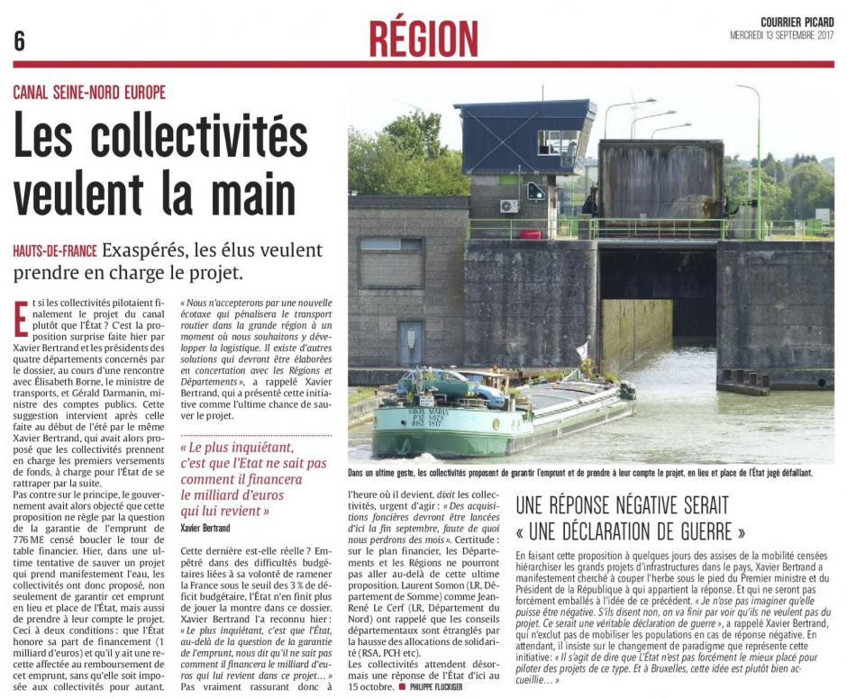 20170913-CP-Hauts-de-France-Canal Seine-Nord Europe : les collectivités veulent la main