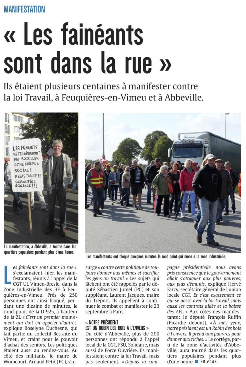 20170913-CP-Picardie maritime-« Les fainéants sont dans la rue » [édition Picardie maritime]