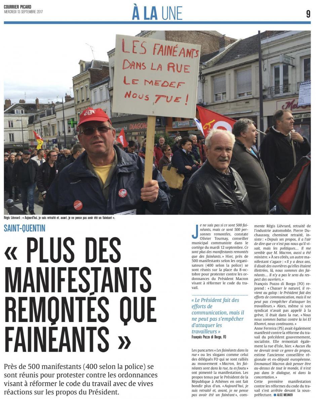 20170913-CP-Saint-Quentin-« Plus des manifestants remontés que fainéants » [édition Saint-Quentin]