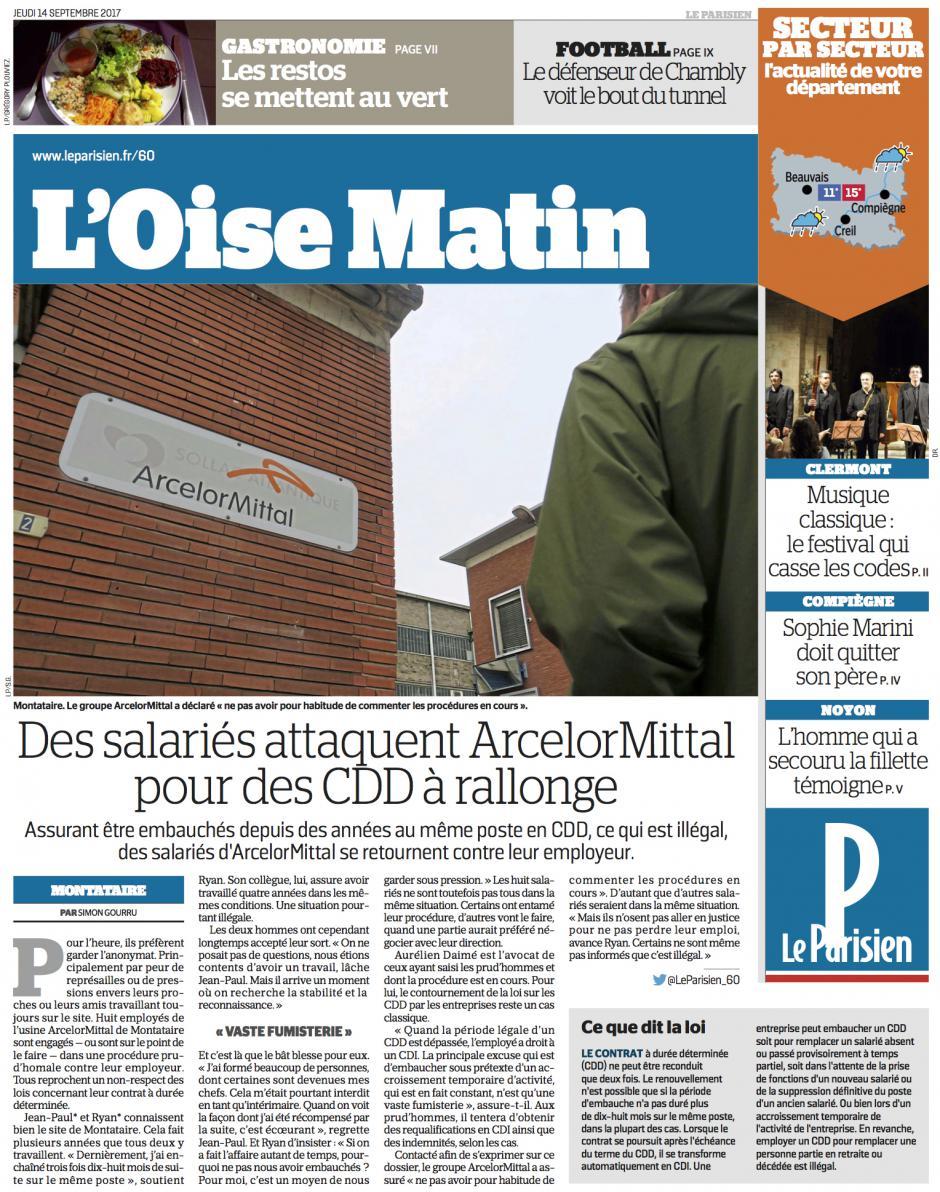 20170914-CP-Montataire-Des salariés attaquent ArcelorMittal pour des CDD à rallonge