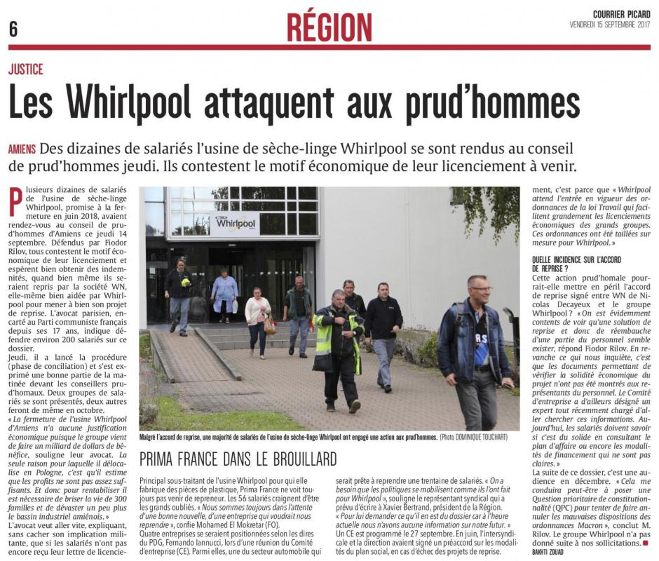 20170915-CP-Amiens-Les Whirlpool attaquent aux prud'hommes