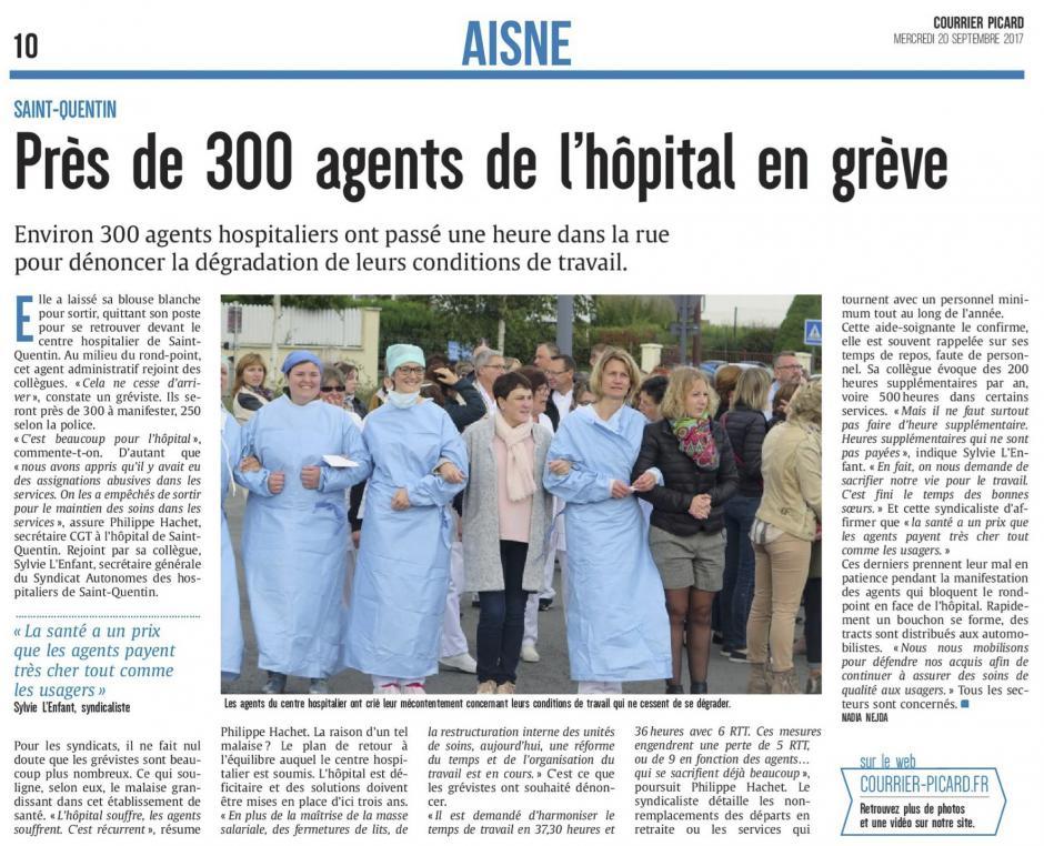 20170920-CP-Saint-Quentin-Près de 300 agents de l'hôpital en grève [édition Saint-Quentin]
