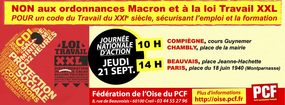 21 septembre, Oise - Journée d'action et de grève contre la réforme du code du travail