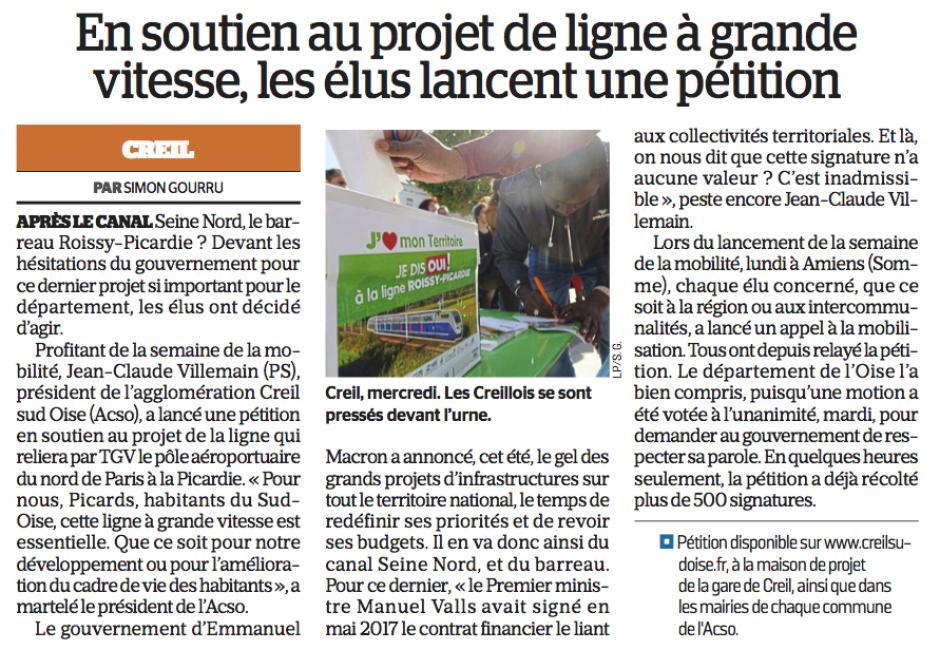 20170922-LeP-Creil-En soutien au projet de ligne à grande vitesse, les élus lancent une pétition