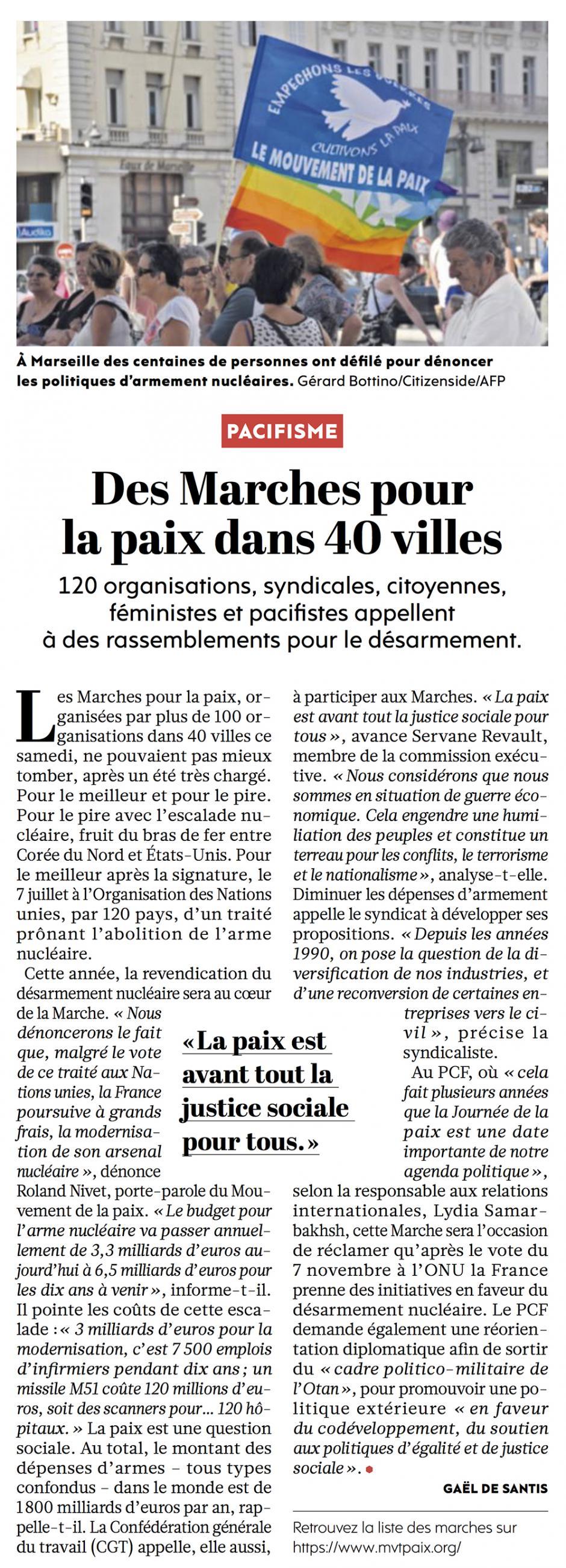 20170922-L'Huma-France-Des Marches pour la paix dans 40 villes
