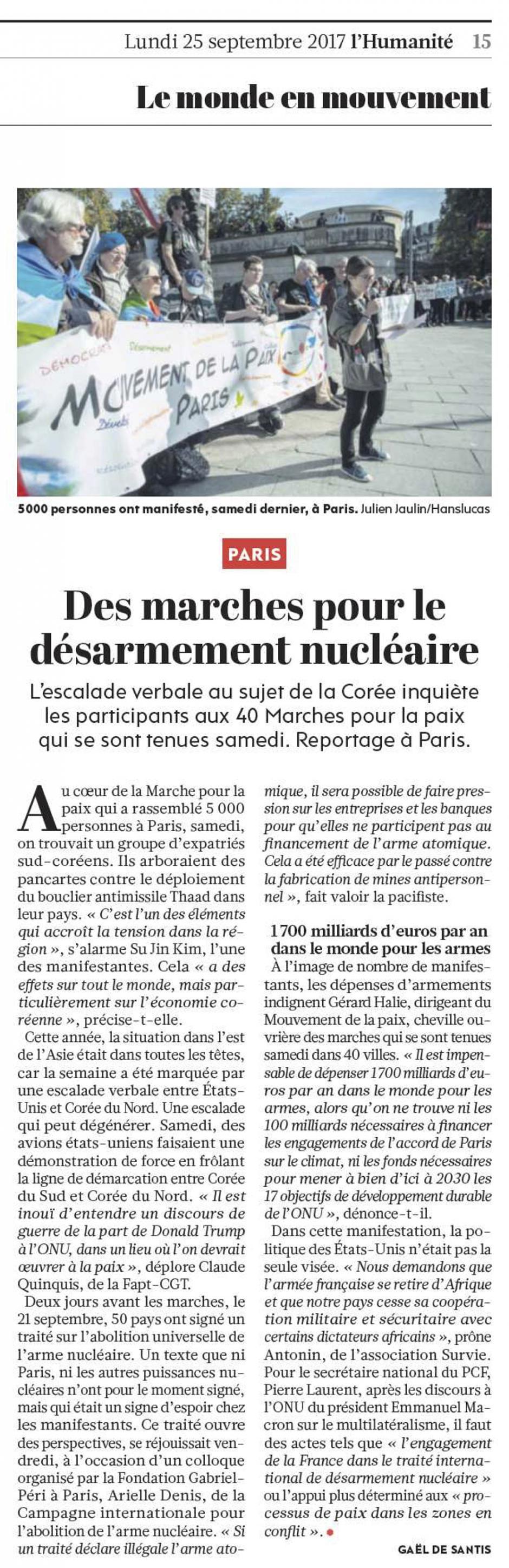 20170925-L'Huma-Paris-Des marches pour le désarmement nucléaire