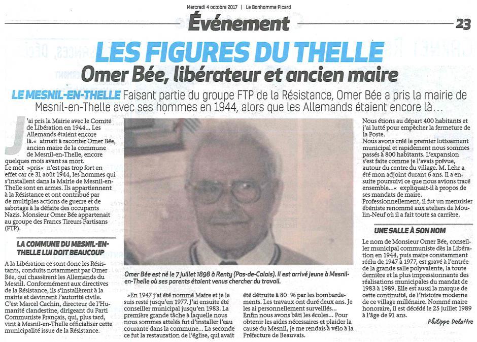 20171004-BonP-Le Mesnil-en-Thelle-Omer Bée, libérateur et ancien maire