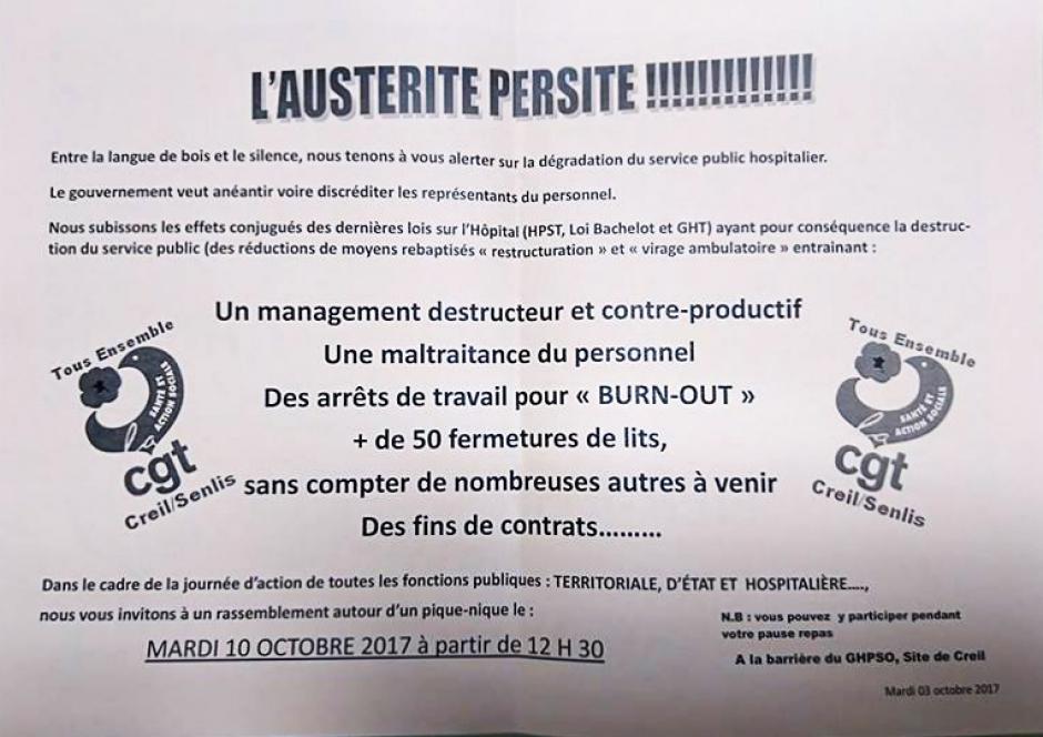 Tract « L'austérité persiste ! » - CGT hôpital Creil-Senlis, 10 octobre 2017