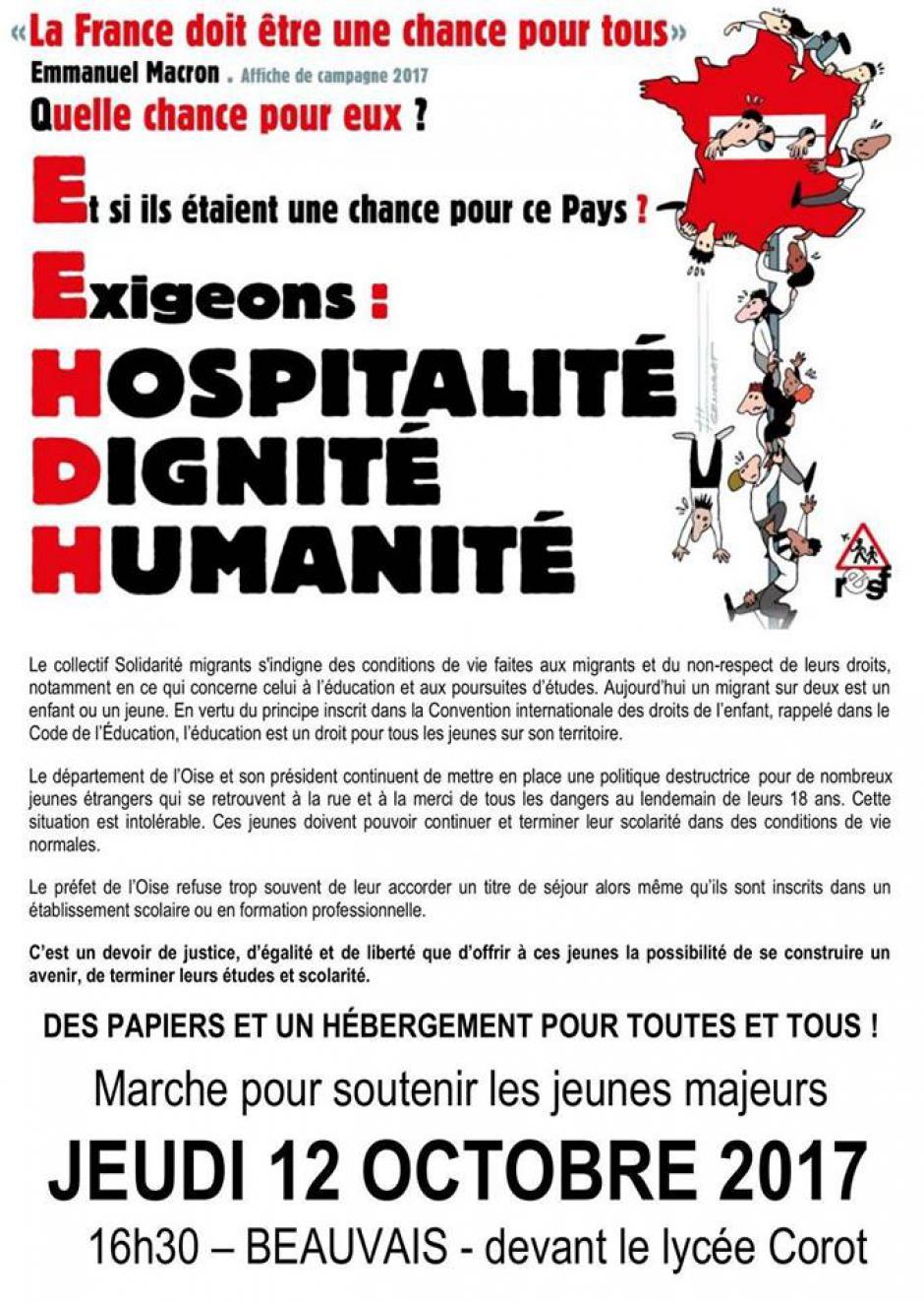 12 octobre, Beauvais - Solidarité Migrants Oise-Marche pour soutenir les jeunes majeurs étrangers