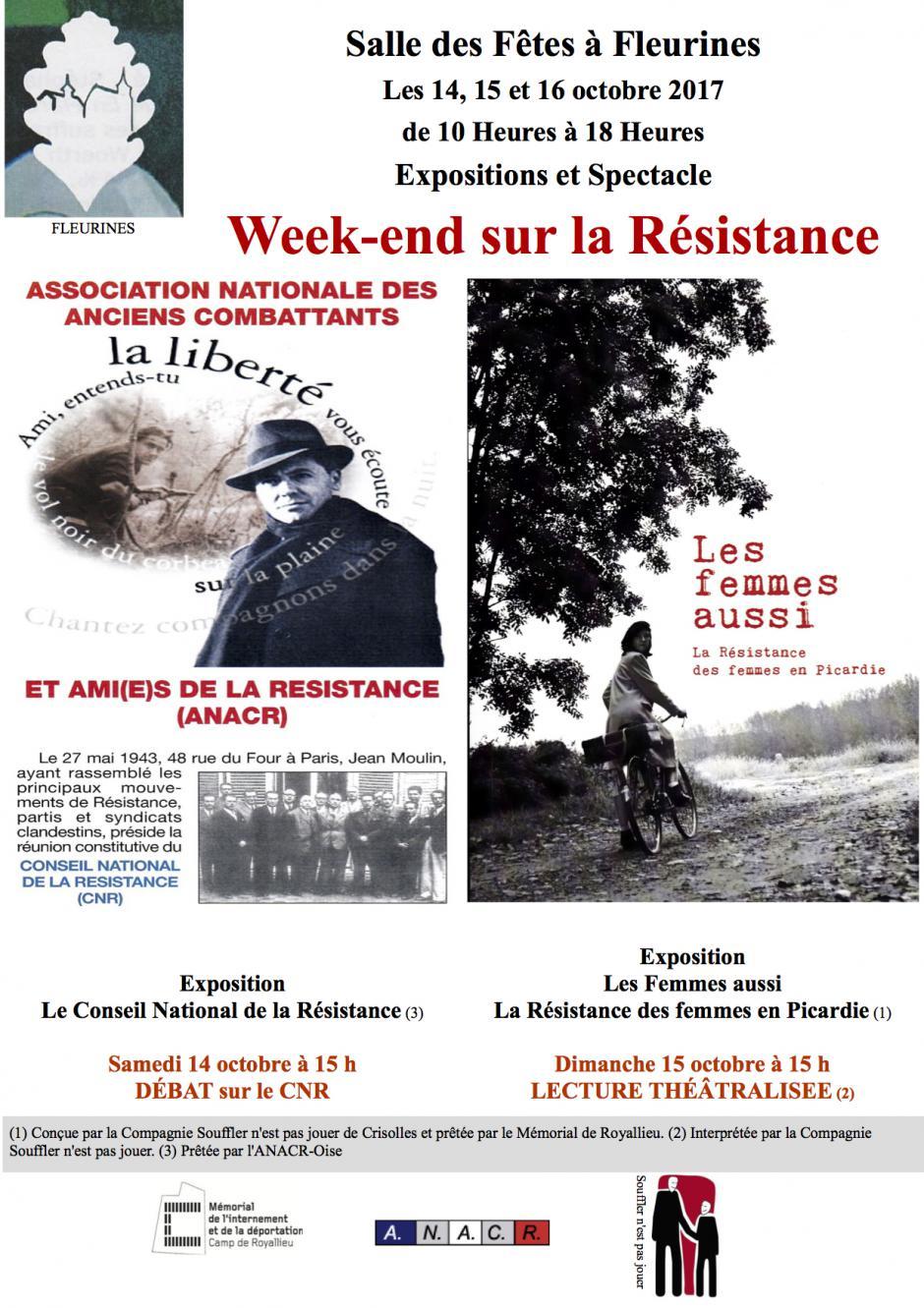 14 au 16 octobre, Fleurines - ANACR-Week-end sur la Résistance