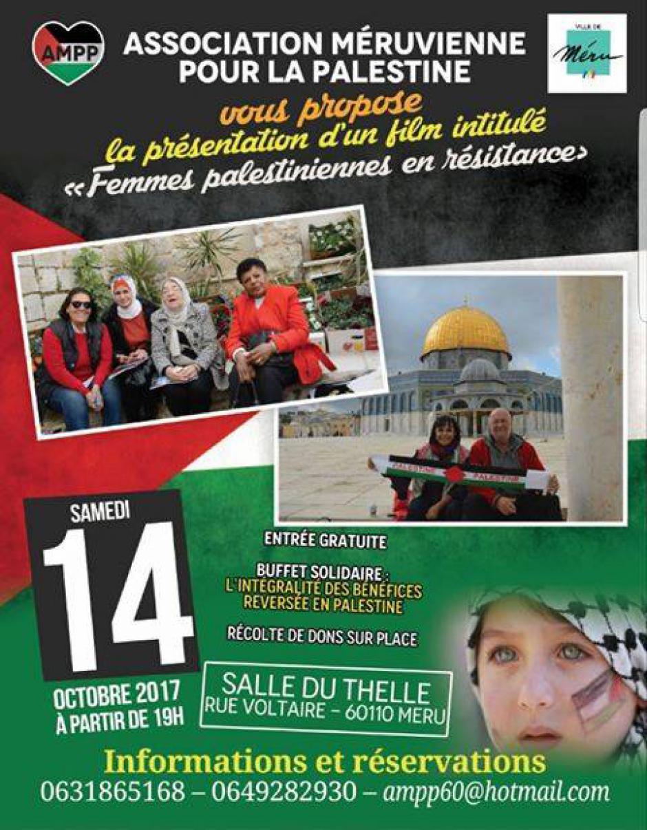 14 octobre, Méru - Association méruvienne pour la Palestine-Projection-débat « Femmes palestiniennes en résistance »