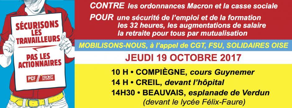 19 octobre, Oise - Journée de mobilisation contre les ordonnances Macron et pour un code du travail du XXIe siècle