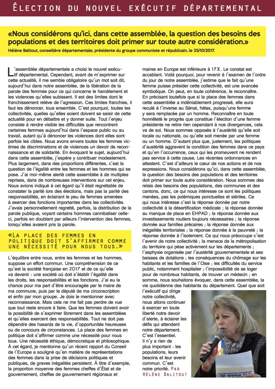 Expression du groupe Communiste & Républicain « Élection du nouvel exécutif départemental » - Conseil départemental de l'Oise, 25 octobre 2017