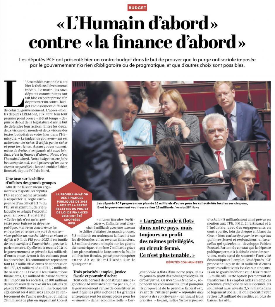 20171025-L'Huma-France-Budget : « l'Humain d'abord » contre « la finance d'abord »
