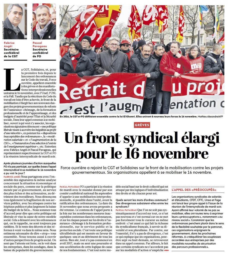 20171026-L'Huma-France-Un front syndical élargi pour le 16 novembre