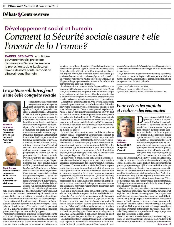 Bernard Lamirand et Aimé Relave : « Le système solidaire, fruit d'une belle conquête sociale » - L'Humanité, 8 novembre 2017