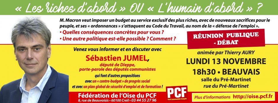 13 novembre, Beauvais - Réunion publique-débat avec Sébastien Jumel