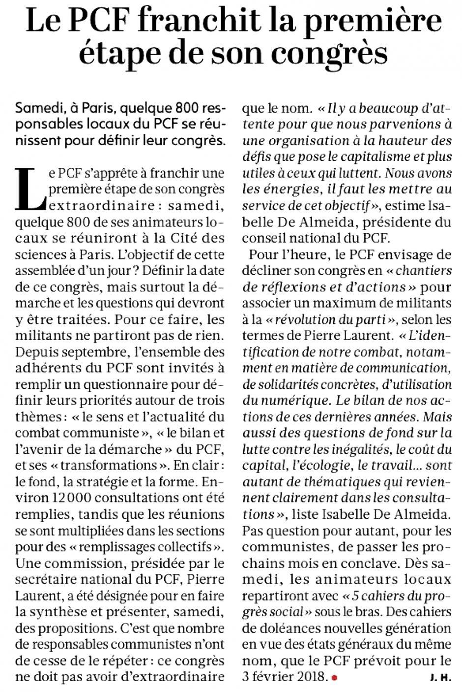 20171117-L'Huma-France-Le PCF franchit la première étape de son congrès