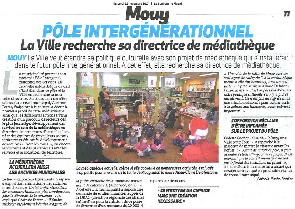 20171122-BonP-Mouy-Pôle intergénérationnel : la Ville recherche sa directrice de médiathèque [Colette Soenen]