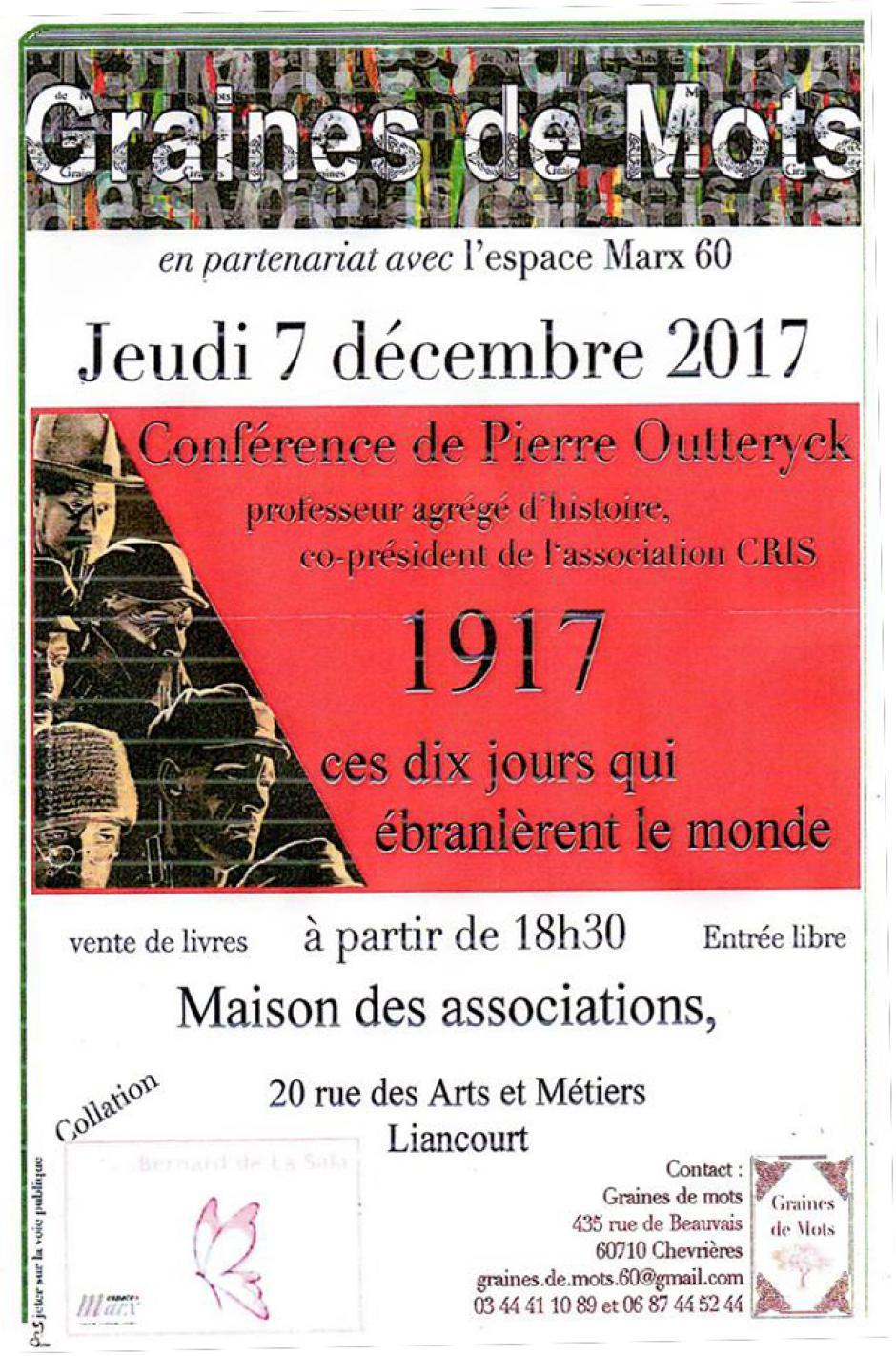 7 décembre, Liancourt - Graines de Mots-Conférence « 1917, ces 10 jours qui ébranlèrent le monde », avec Pierre Outteryck