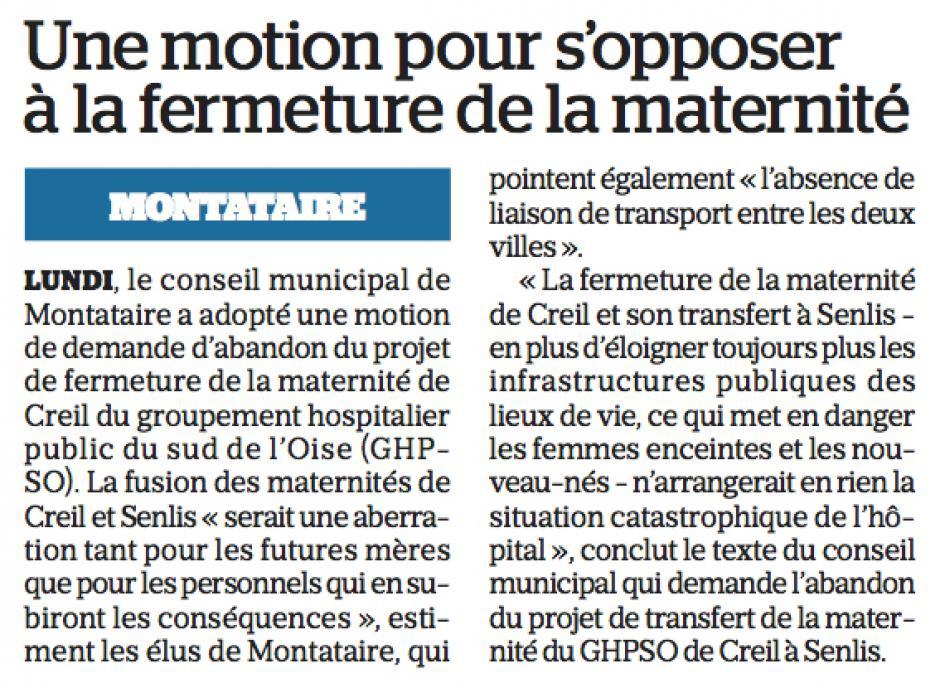 20171216-LeP-Montataire-Une motion pour s'opposer à la fermeture de la maternité