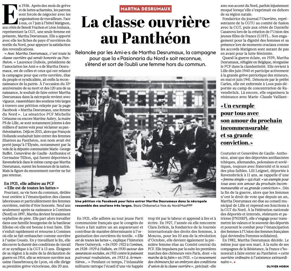 20171226-L'Huma-France-La classe ouvrière au Panthéon [Martha Desrumaux]