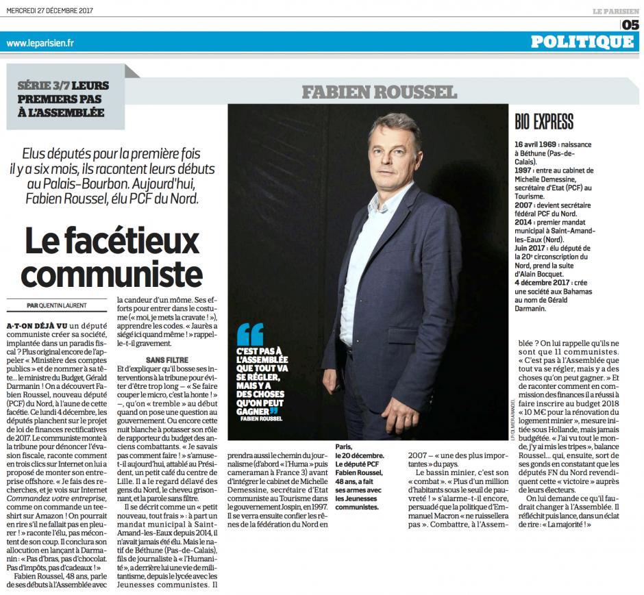 20171227-LeP-France-Leurs premiers pas à l'Assemblée (3/7)-Fabien Roussel, le facétieux communiste