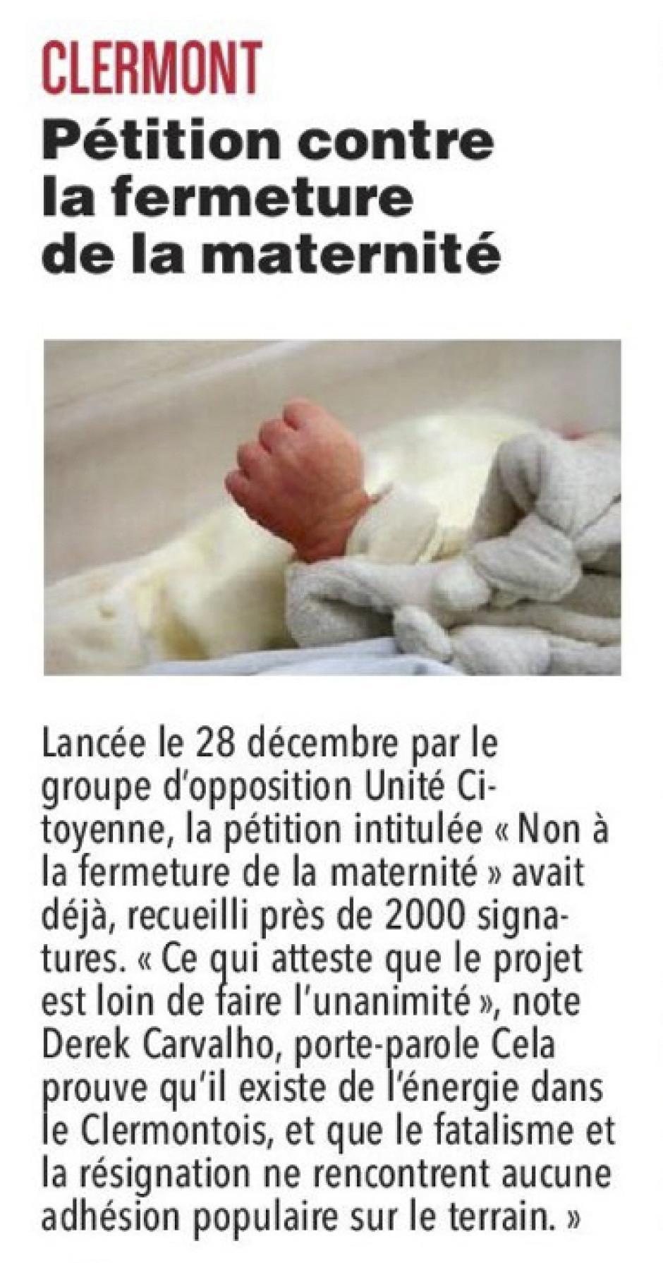 20180104-CP-Clermont-Pétition contre la fermeture de la maternité [pages régionales]